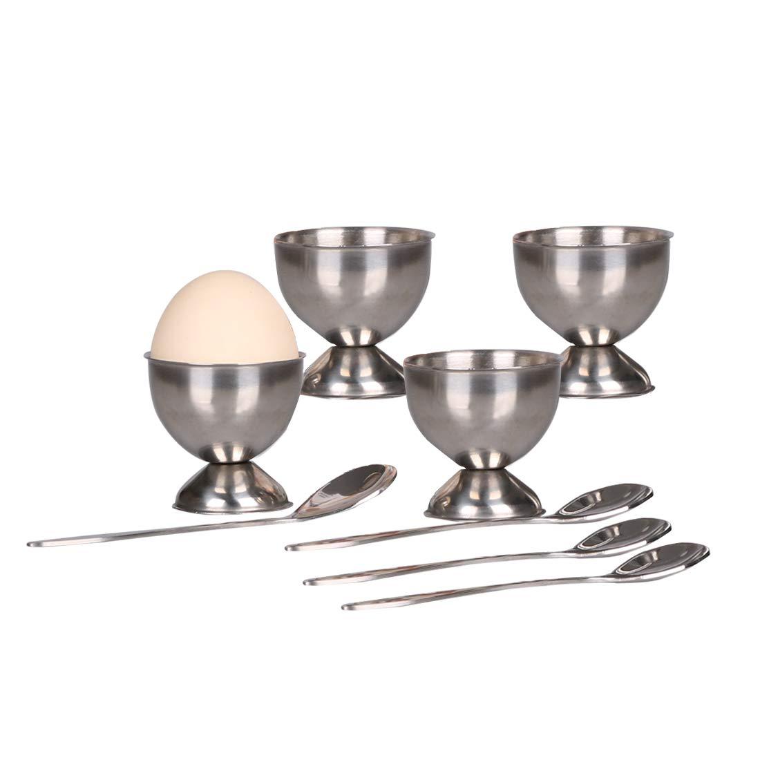 Egg Cups Set Egg Tray for Hard & Soft Boiled Eggs Include 4 Egg Holders, 4 Egg Spoons Stainless Steel Kitchen Tool