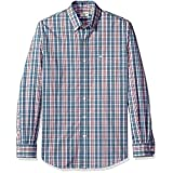 Dockers Men's Comfort Stretch Soft No Wrinkle Long Sleeve Button Front Shirt, Acadia Blue, Large
