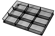 Custom Drawer Organizer Tray – 20 Adjustable Metal Mesh Dividers to Create Custom Storage Sections. Easily Organize Office Desk Supplies and Accessories. Perfect Home or Office Drawer Tray. (Black)