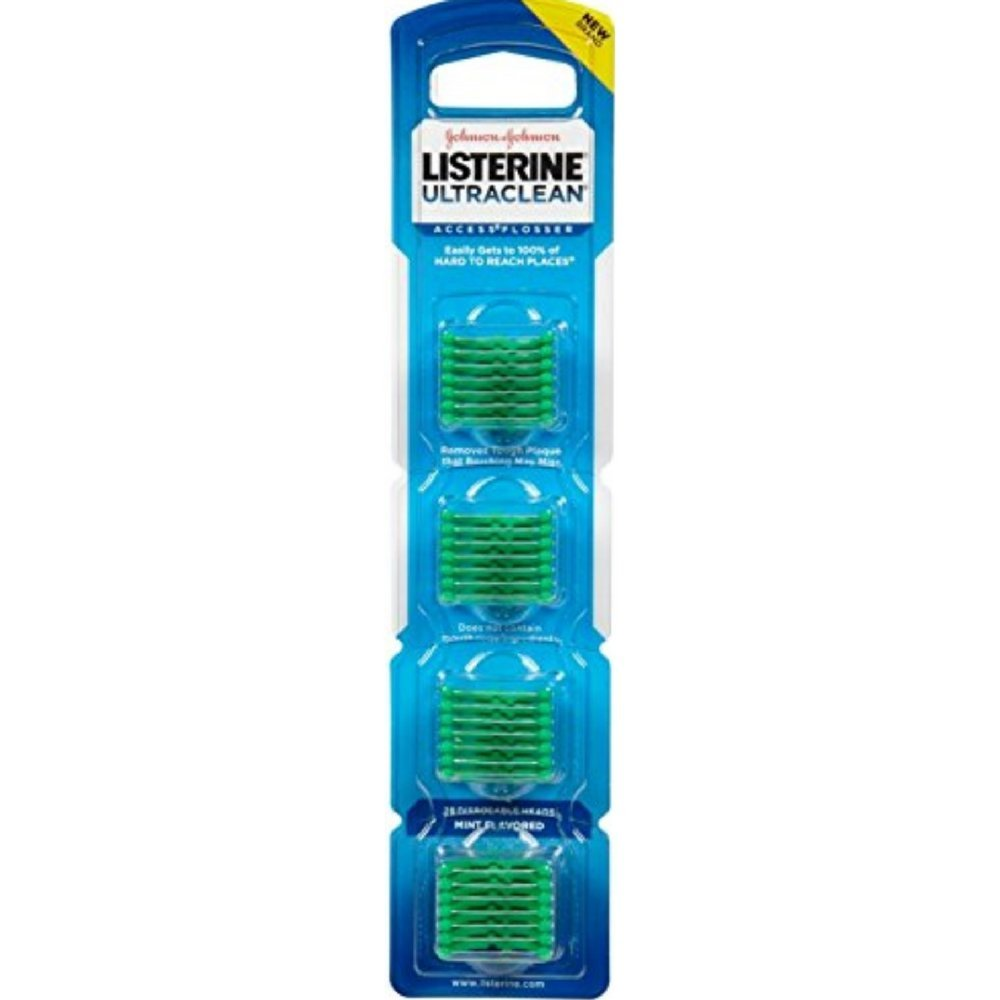 Listerine Ultra Clean Access Flosser Mint Refill Heads, 28 Count (Pack Of 6)