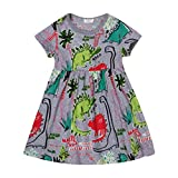 Gold treasure baby Girls summer playwear dresses one-piece Dress with cartoon dinosaurs (4T)