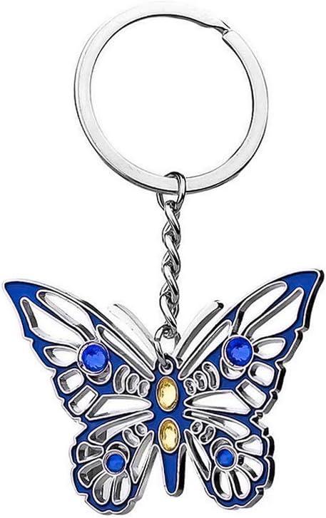 Aoneky Llavero de Mariposa Brillante Azul de Metal - Llavero Original para Niñas Parejas Madres Abuelos, Adorno Colgante de Bolso de Mujer, Regalo para Cumpleaños Navidad Día de la Madre San Valentín