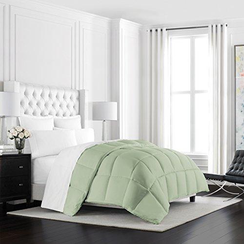 Beckham Hotel Collection Heavyweight Goose Down Alternative Comforter - Hotel Quality Luxury Hypoallergenic Duvet Insert - Warm Winter Comforter - Full/Queen - Sage
