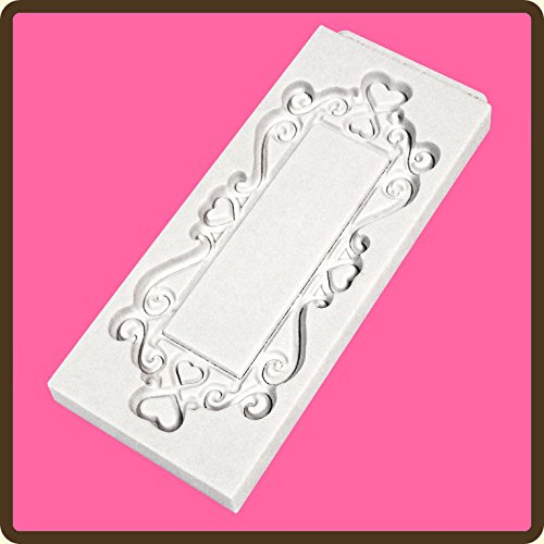 Cupcake Icing Sugar Paste Embellishment Topper Mould: Plaque - Rectangle (Flower Heart Plaque)