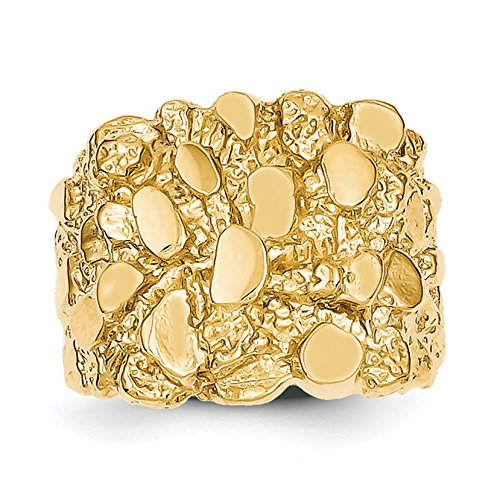 - Solid 14k Yellow Gold Men's Nugget Ring
