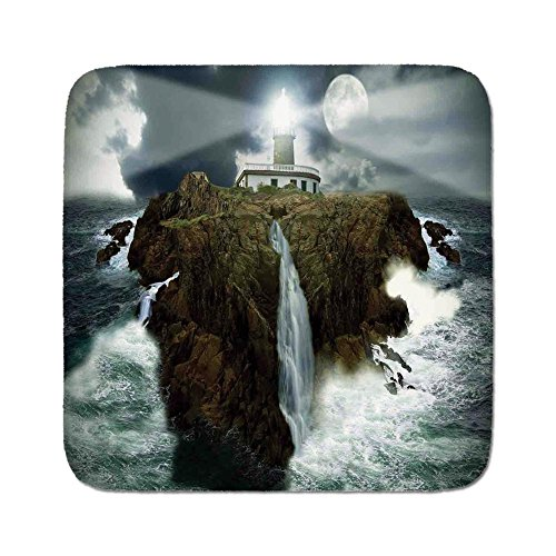 Cozy Seat Protector Pads Cushion Area Rug,Lighthouse Decor,Island with Lighthouse Rocks Stormy Sea Crashing Waves Full Moon Lightbeams,Gray White Brown,Easy to Use on Any Surface ()