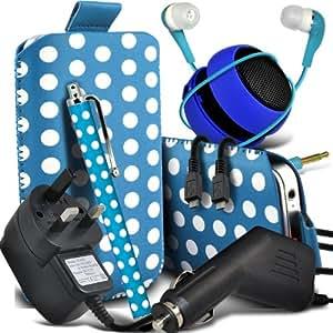 Samsung Galaxy Young S6310 protectora Polka PU Leather Slip Tire Cord En la bolsa del lanzamiento rápido con Mini capacitivo Stylus Pen, 3.5mm en auriculares del oído, Mini recargable altavoz de la cápsula, Micro USB CE aprobado 3 Pin Cargador 12v Micro Car Charger (Baby Blue y blanco)