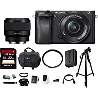 Sony Alpha a6300 Digital Camera w/ 16-50mm Lens & FE 50mm Lens w/ Focus Bundle