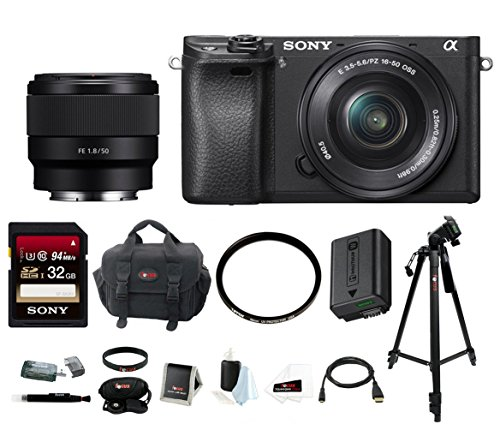 Sony Alpha a6300 Digital Camera w/16-50mm Lens & FE 50mm Lens w/Focus Bundle