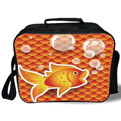 Insulated Lunch Bag,Burnt Orange,Cute Small Goldfish Talking with Bubbles Random Scallop Patterns Decorative Home Decorative,Burnt Orange,for Work/School/Picnic, Grey