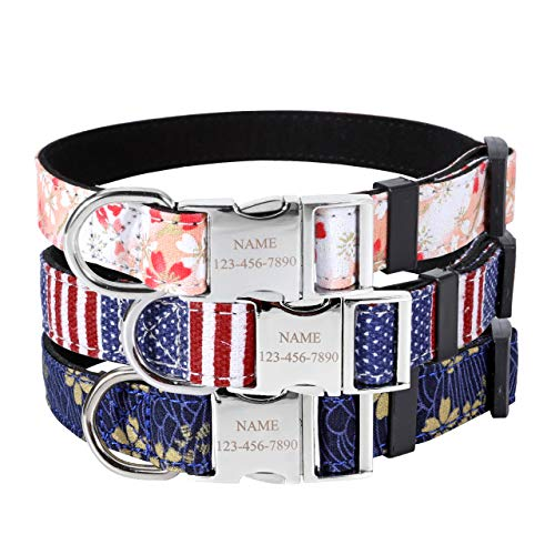 Mogoko Custom Engraved Nylon Dog Collar, Personalized ID Name/Phone/Address Engraved Puppy Pet Collars with Metal Buckle for Small Medium Large Dogs(L Size;American Flag (Collar American Flag Dog)
