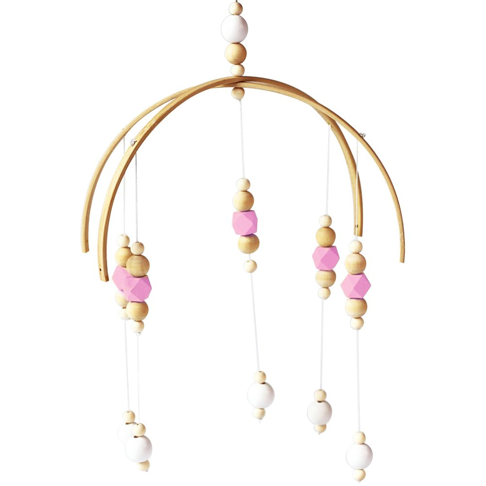 SuBoZhuLiuJ Wooden Beads Wind Chimes Hanging Decoration for Kids Baby Crib Room Decoration Photo Studio Prop