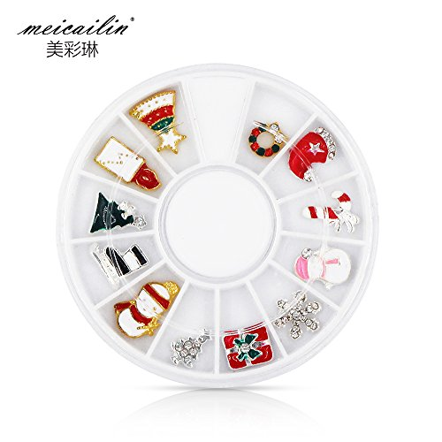 QIMYAR Super Deals Alloy 3D Nail Art Stickers White Snowflakes Christmas Glitter Decorations Charms DIY Jewelry Glitter Nails Art Wheel for $<!--$4.99-->