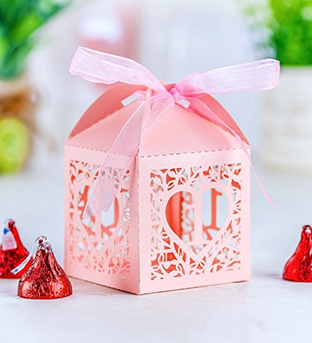 50PCS Baby Shower Favor Boxes, 2.2 x 2.2 Love Heart Favor Boxes for Baby Shower Decorations, 1st Anniversary, First Birthday Party, Baby Birthday Supplies (Pink) ()