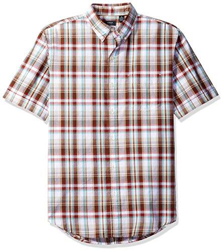 (Arrow Men's Short Sleeve Madras Shirt, Marble Canyon, Small)