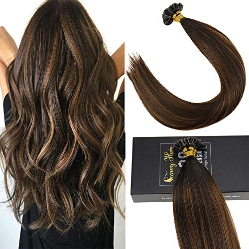 (Sunny Fusion Extensions Human Hair U Tip Extensions, Darkest Brown Ombre to Medium Brown Mixed Darkest Brown Hair Extensions Real Hair 100%,(20inch,Straight,1g/s,50g))