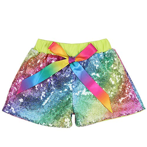 (Cilucu Baby Girls Sequin Shorts Toddlers Sparkle Short Pants Kids Birthday Shorts Glitter on Both Sides Rainbow Green 6t )