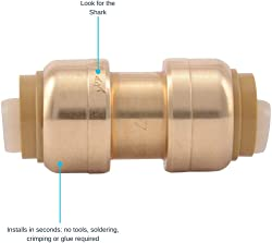 SharkBite U008LFA Straight Coupling Plumbing, Pex Fittings, Push-to-Connect, Coupler, Copper, Cpvc