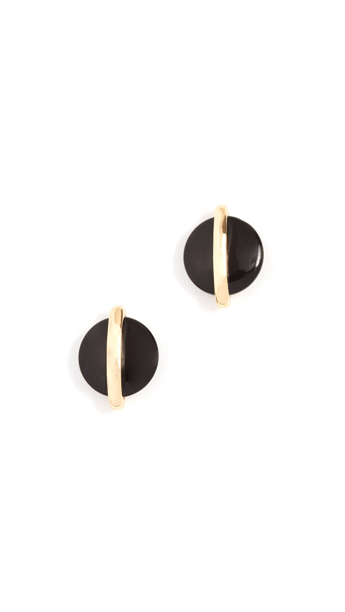 Gorjana Women's Brinn Studs, Black Onyx/Yellow Gold, One Size