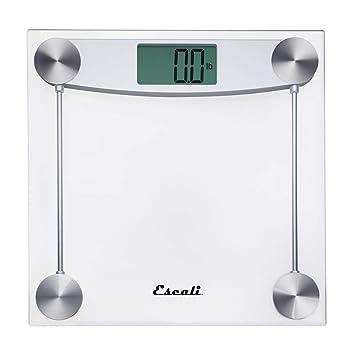 a24e99f5c020 Escali Clear Glass Bathroom Scale, Chrome Metal, 11.8 X 11.8 X 1 in, 3.4  Pound