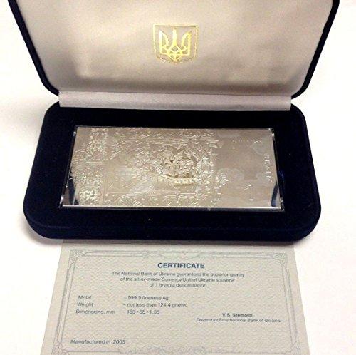 2005 UA 2005 Ukraine 1 Hryvna Rectangular Silver 4oz Vlad coin Good 0434
