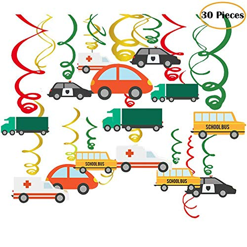 Jiahai 30Ct Colorful Transportations Cars Trucks Buses Hanging Swirl Home Decorations for Transportation Themed Birthday Party Supplies -