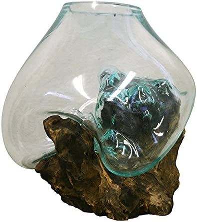 Large Hand Blown Molten Glass and Wood Root Sculptured Terrarium Vase Fish Bowl 10×11