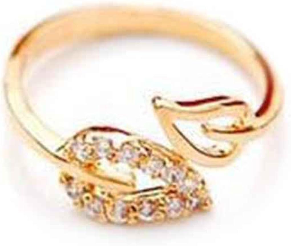 forbestest Las mujeres abren el anillo de la hoja de puño ajustable tamaño libre Rhinestones Anillos del corazón Parejas Weddingn Anillos de oro 2.06cm