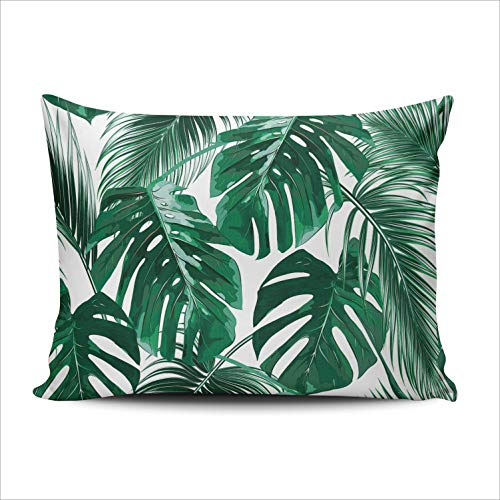 AIHUAW Home Decorative Cushion Covers Throw Pillow Case Tropical Palm Leaves Jungle Green Pillowcases Lumbar 12x20 Inches One Sided Printed (Set of 1) (Palm Springs Custom Patio Cushions)