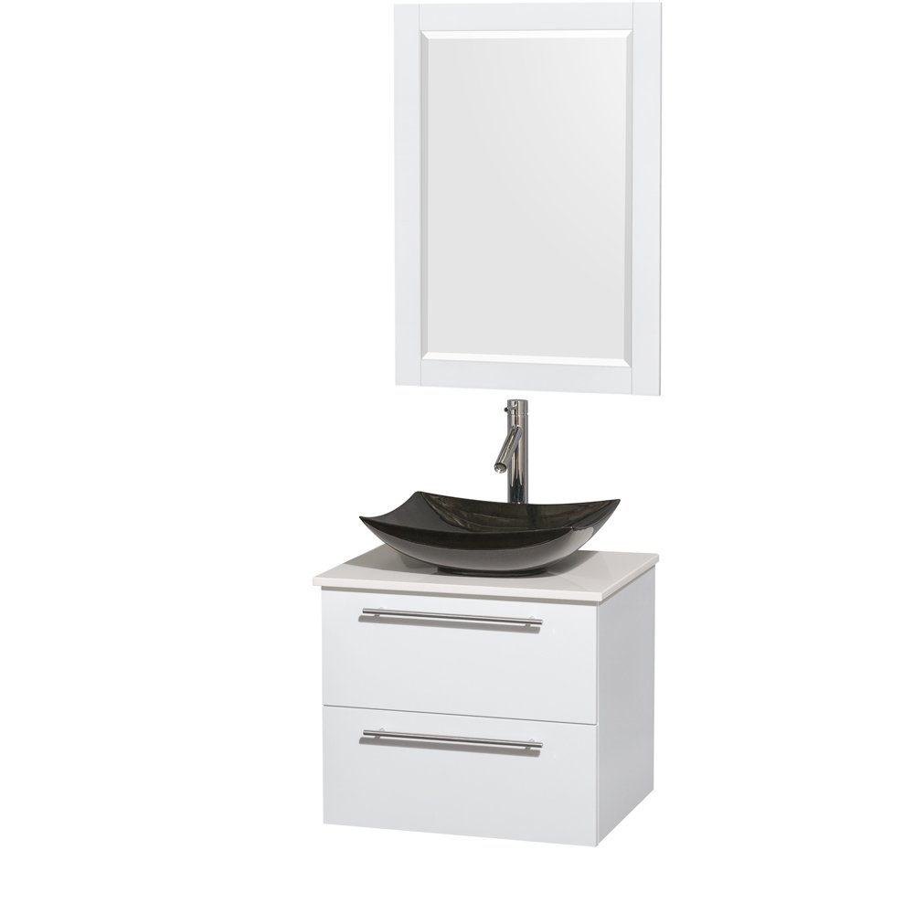 Wyndham Collection Amare 36 Inch Single Bathroom Vanity In Glossy White,  Acrylic Resin Countertop, Integrated Sink, And 24 Inch Mirror - - Amazon