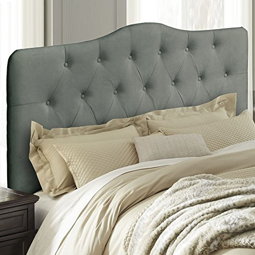 Upholstered Tufted Fabric Headboard (Full, Gray)