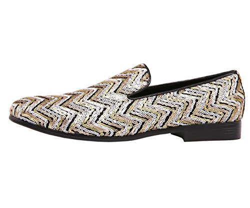On Patterned Amali Chevron Style Dress Smoking Shoe Slipper Chevy Sequin Gold Slip Men's fO0wqOt