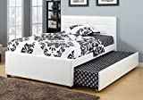 1PerfectChoice Modern White Faux Bycast Leather Upholstered 12 Slats Full Bed w/ Trundle