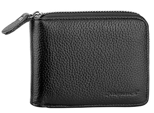 (Mens Wallets Leather Zipper Wallet for Men Bifold RFID Multi Card Holder Purse)