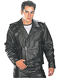 B7100 Classic Mens Black TOP GRADE Leather Motorcycle Biker Jacket - Large