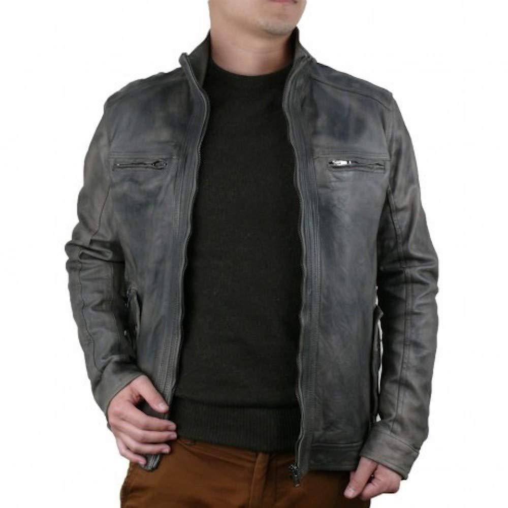 Taupe DDMILANO Men's Italian Leather Jacket Biker