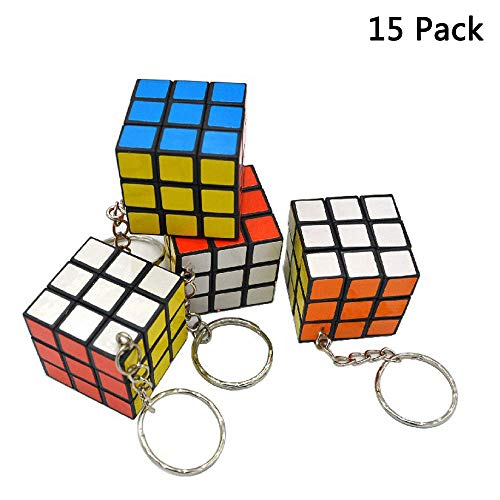 Finduat 15 Pack Magic Cube Keychains for Mini Cube Puzzle Party Favors, School Carnival Reward, Party Bag Fillers