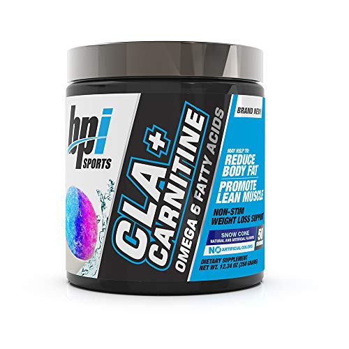 BPI Health CLA + Carnitine - CLA Plus Carnitine - Supports Metabolism - Helps Boost Performance - Non-Stimulant Formula - May Help Reduce Body Fat - Snow Cone - 50 Servings - 11.29 oz (Bpi Best Bcaa Shredded)