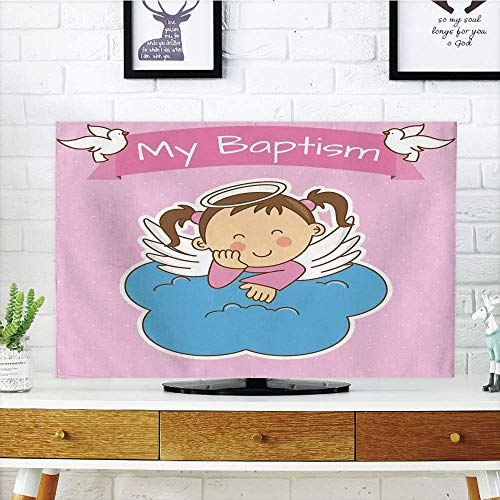 (YCHY LCD TV dust Cover Strong Durability,Baptism,Pair of Wings on a Cloud Girl Baptism Anniversary Baby Announcement Cartoon Art,Light Pink Blue,Picture Print Design Compatible 32