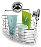 BINO SMARTSUCTION Rust Proof Stainless Steel Shower Caddy, Corner Basket
