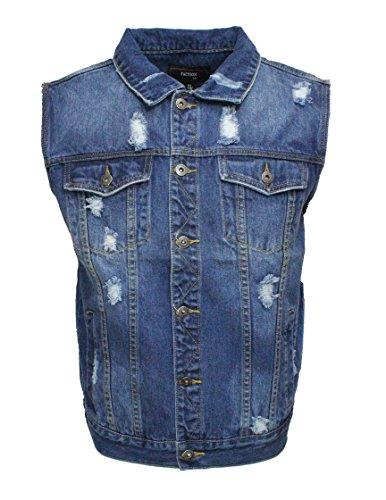 Denim Biker Jacket (Faction Men's denim biker vest jean jacket (XXL, Vintage))