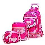 Lyfreen Boys Girls Rolling Backpack Kids School Backpack with Wheels School Bag