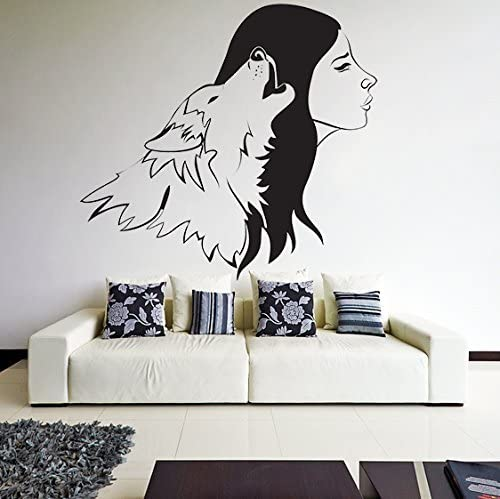 Vinilo Adhesivo Pared Lobo Mujer/Aullando Animal & Mujeres Silueta Pegatina Hogar Adhesivo/Cuarto Pareja Mural + Gratis Pegatina Regalo - 180x172 cm: Amazon.es: Hogar