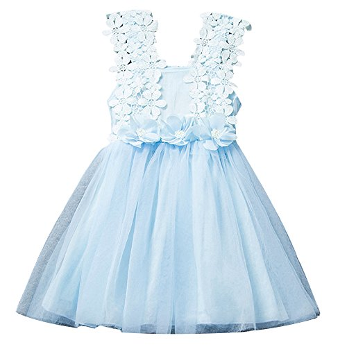 Price comparison product image Bai You Mei Baby Girls Sleeveless Vest Lace Wedding Vintage Birthday Party Princess Flower Dress Blue 0-6 Months