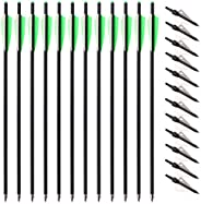 12pcs 20inch Carbon Crossbow Arrows Crossbow Bolts with 4inch Vanes and 12pcs 3 Blades Archery Broadheads 100