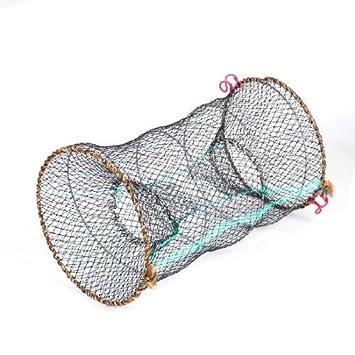 Dimart Pond Black 25cm Dia Cylinder Foldable Nylon Mesh Net Shrimp