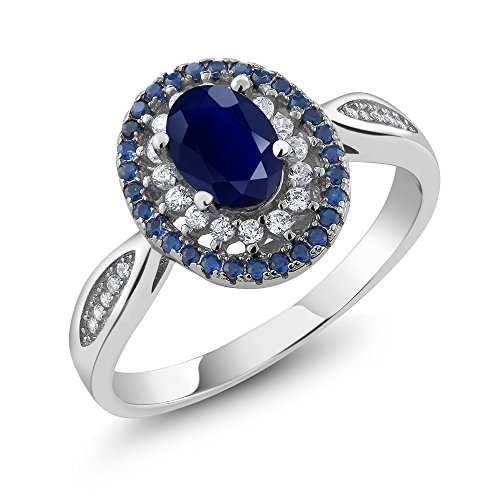 Gem Stone King Sterling Silver Blue Sapphire Women's Engagement Ring 1.62 cttw, Oval Cut 7X5MM Gemstone Birthstone (Available 5,6,7,8,9) (Size 6) ()
