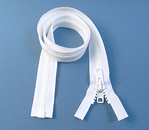 San Giuliano Alghero Zipper, White #10 YKK Brand Separates at The Bottom, Marine Grade Metal Tab Slider, Heavy Duty (40