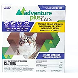 Adventure Plus Flea and Tick Prevention for Cats 1, 4, and 8 Months Protection (8 Dose, 9 lbs and Over)