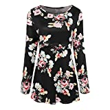 Fanteecy Women's Maternity Tunic Tops Floral Print Round Neck Side Ruched Pregnancy Shirts Breastfeeding (Black,L)